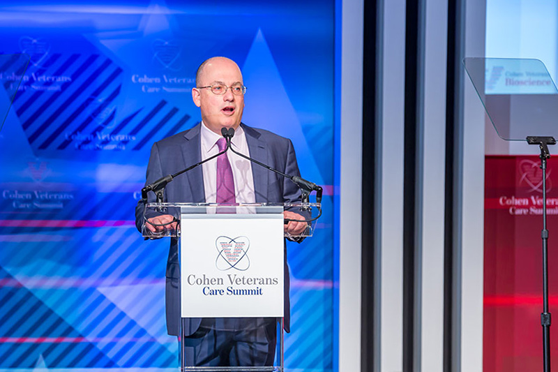 Steven A. Cohen speaking at the 2018 Cohen Veterans Care Summit